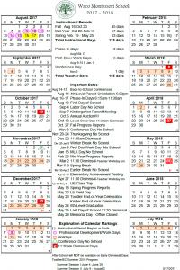 2017-2018 Waco Montessori School Calendar